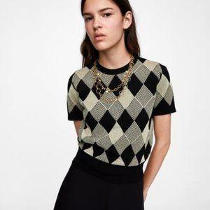 Zara Argyle Sweater with Metallic Thread